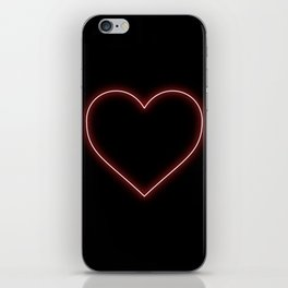 Neon Red Valentines Love Heart iPhone Skin