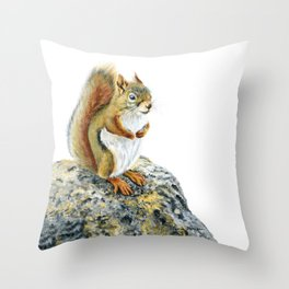 Bright-eyed and Bushy-tailed by Teresa Thompson Throw Pillow