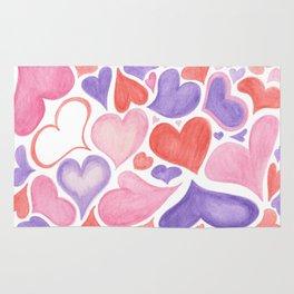 Watercolor hearts Rug