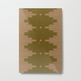 Southwestern Minimalist Retro Green & Pink Metal Print