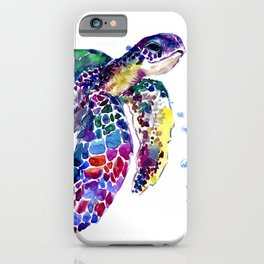 Sea Turtle Rainbow Colors, turtle design illustration artwork animals iPhone Case