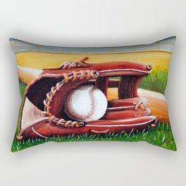 """Baseball"" Fine Art Print,Giclee Boys room,Whimsical Art,Sports room decor, Sports Theme Rectangular Pillow"