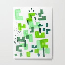 Colorful Green Minimalist Abstract Mid Century Modern Pattern Geometric Fun Art Metal Print