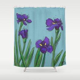 Irises on Blue Shower Curtain