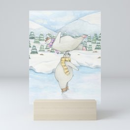 Figure skating polar bears Mini Art Print