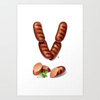 V is for Vienna Sausage Art Print