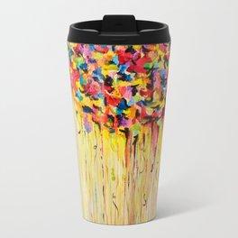 OPPOSITES LOVE Raining Sunshine - Bold Bright Sunny Colorful Rain Storm Abstract Acrylic Painting Travel Mug