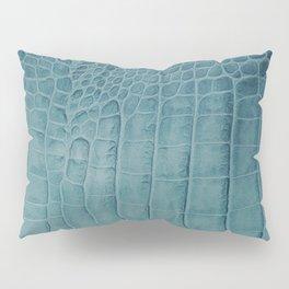 Croco leather effect - Aqua blue Pillow Sham