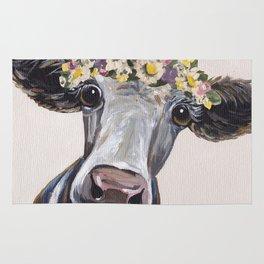 Cute Cow Art, Flower Crown Cow Art Rug