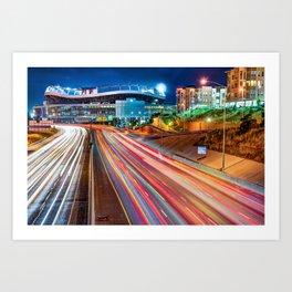 Broncos Stadium at Mile High - Colorful Downtown Denver Art Print