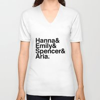 pretty little liars V-neck T-shirts featuring Pretty Little Liars by MLauxDesign
