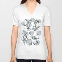 shells V-neck T-shirts featuring shells by sustici