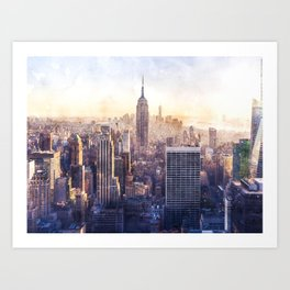 New York City Watercolor Skyline Art Print