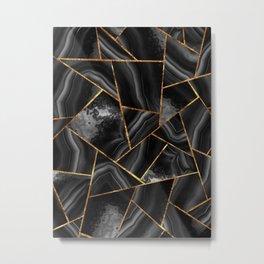 Black Night Agate Gold Geometric Glam #2 #geo #decor #art #society6 Metal Print