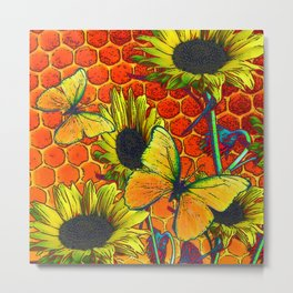 ORANGE-YELLOW BUTTERFLIES & SUNFLOWERS ARTISTIC HONEYCOMB DRAWING Metal Print