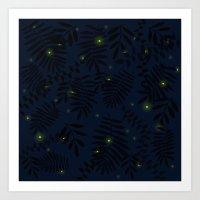 fireflies Art Prints featuring Fireflies by Helena's universe