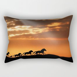 Horses in sunset Rectangular Pillow