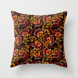 Russian Khokhloma Floral Throw Pillow
