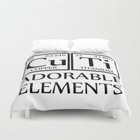 periodic table Duvet Covers featuring CUTI Adorable Elements Periodic Table by raineon