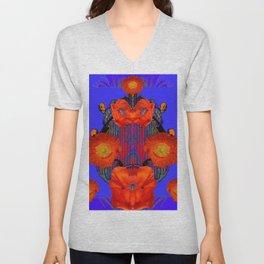Ornate Modern Orange Poppy Flowers Ultramarine art Unisex V-Neck