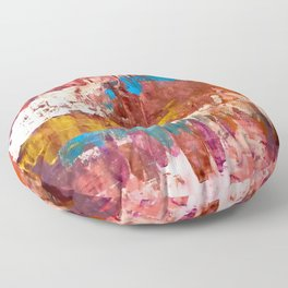 Desert Sun [5]: A bright, bold, colorful abstract piece in warm gold, red, yellow, purple and blue Floor Pillow