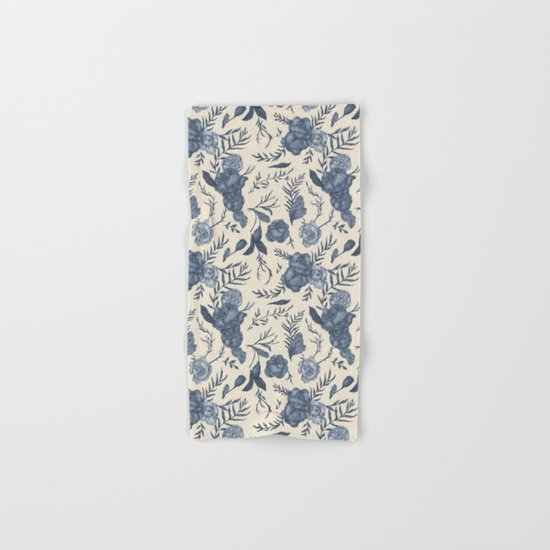 Blue Floral Pattern Hand & Bath Towel