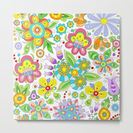 Background colorful flowers, doodleart, abstract graphic-desing vector pattern Metal Print