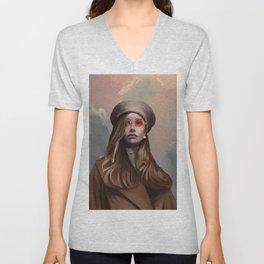 Fashion Girl Portrait Unisex V-Neck