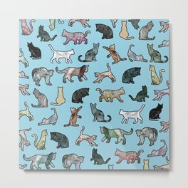Cats shaped Marble - Sky Blue Metal Print