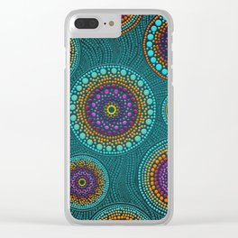 Dot Art Circles Teals and Purples #2 Clear iPhone Case