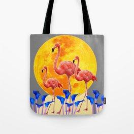 PINK FLAMINGOS FULL MOON BLUE LILIES Tote Bag