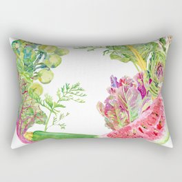 Green Fruit & Vegetable Wreath Rectangular Pillow