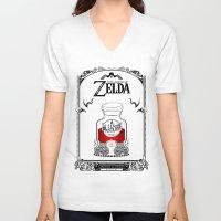 legend of zelda V-neck T-shirts featuring Zelda legend - Red potion  by Art & Be