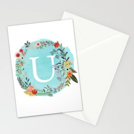 Personalized Monogram Initial Letter U Blue Watercolor Flower Wreath Artwork Stationery Cards