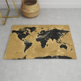world map marble gold 2 Rug