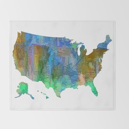 Usa Colorful Map Throw Blanket