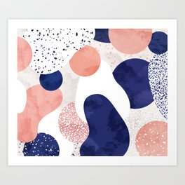 Terrazzo galaxy pink blue white Art Print