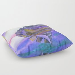 NAUTILUS CONCH SEA SHELL PURPLE IMPRESSIONS Floor Pillow
