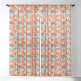 Terracotta Cacti Sheer Curtain