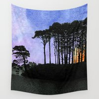 leon Wall Tapestries featuring No one can gaze on the night without vertigo by anipani