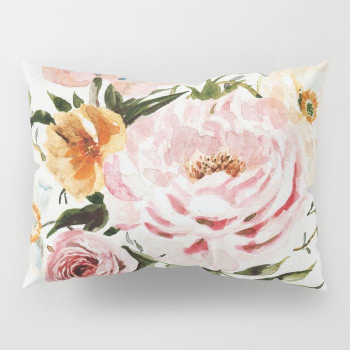 Loose Peonies & Poppies Floral Bouquet Pillow Sham