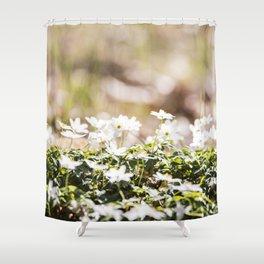 White Flowers Bokeh Lights Shower Curtain