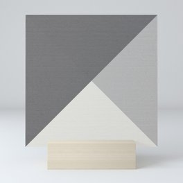 Tricolor Minimalist Smooth Grey Geometric Triangle Mini Art Print