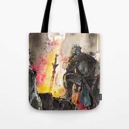 Dark Souls Bonfire with a Warrior Japanese calligraphy Tote Bag