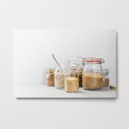 grains, legumes and nuts on concrete background Metal Print