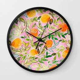 Pink Citrus Wall Clock