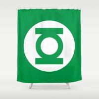 green lantern Shower Curtains featuring Green Lantern Minimalist Poster by Bigvince-Vincent Tavera