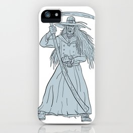 Ankou Henchman of Death With Scythe Drawing iPhone Case