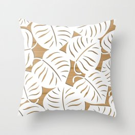 White lives on brown wood Throw Pillow