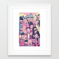 budapest hotel Framed Art Prints featuring Grand Hotel by Ale Giorgini